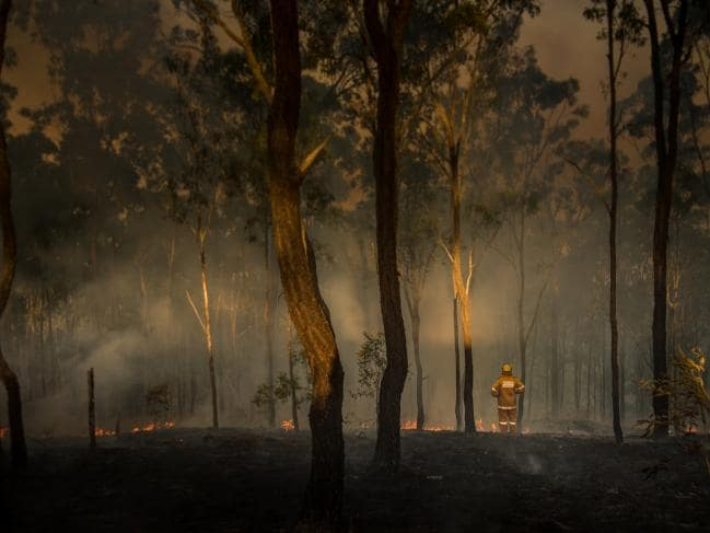 A loan Australian rural firefighter observes the damage caused by bushfires in Queensland. Source: Supplied