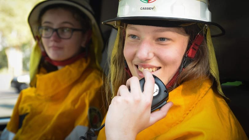 Cassidy Hodgson on the radio as part of her training. Credit: DFES