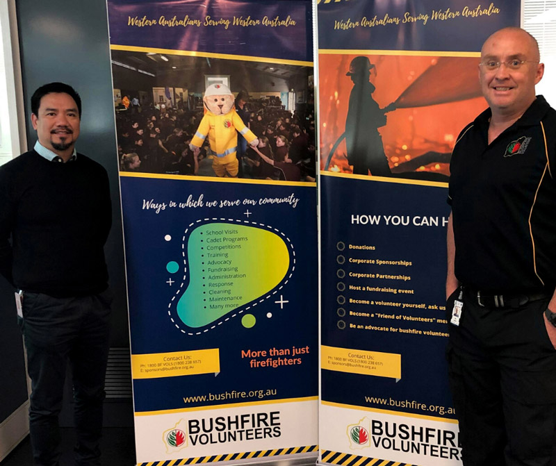 Department of Fire and Emergency Services (DFES) Chaplain Dennis Sudla and Bushfire Volunteers' Engagement Manager Alex Espey at our relationship building meeting in June 2020