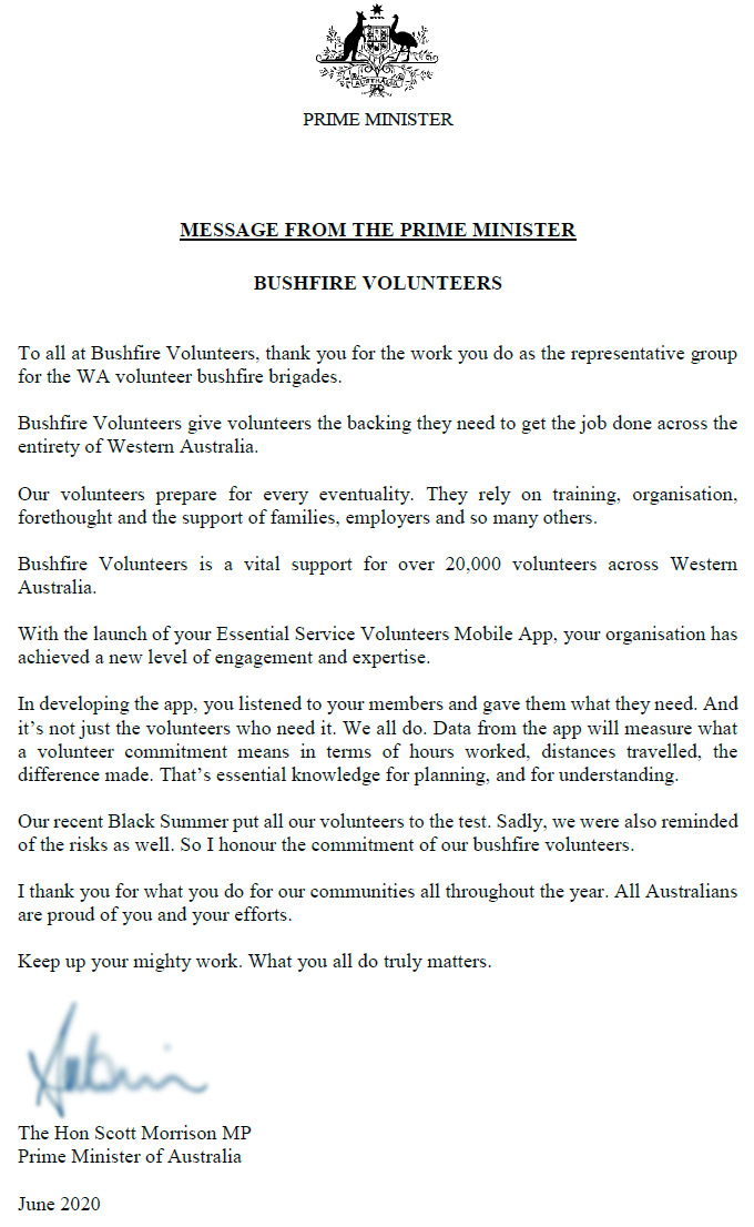 Support from Prime Minister Scott Morrison for our mobile App – ESVolunteers.org.au