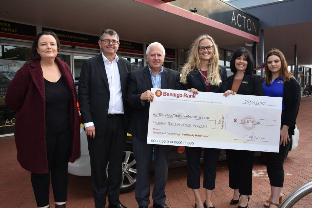 The Mail's sales manager Mandy Gibson, Bendigo Bank rep David Johnston, Volunteer Fire and Rescue Service rep Rob Papalia, Bendigo Bank rep Malin Selemark, Acton marketing manager Sarah Staphorst and C&R Settlements rep Shanae Dudarec.