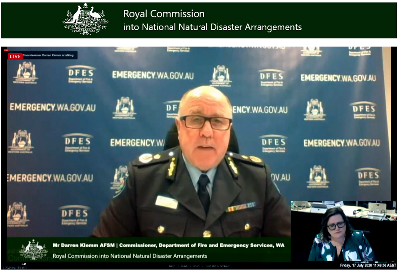 FES Commissioner Darren Klemm at Royal Commission 17-07-2020