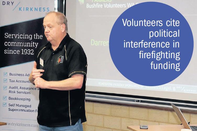 Bushfire Volunteers Executive Officer Darren Brown at the WAFarmers Merredin meeting