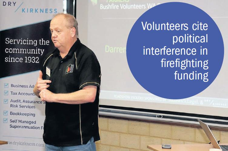 Bushfire Volunteers Executive Officer Darren Brown at the WAFarmers Merredin meeting