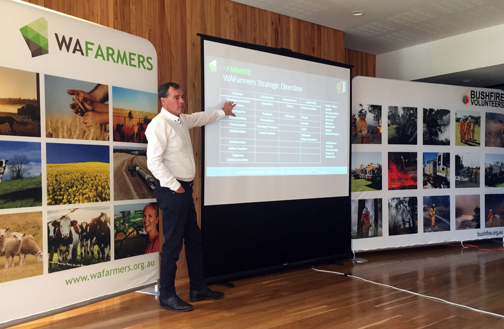 WAFarmers President Rhys Turton at the WAFarmers Bushfire Volunteers meeting in Pingelly WA