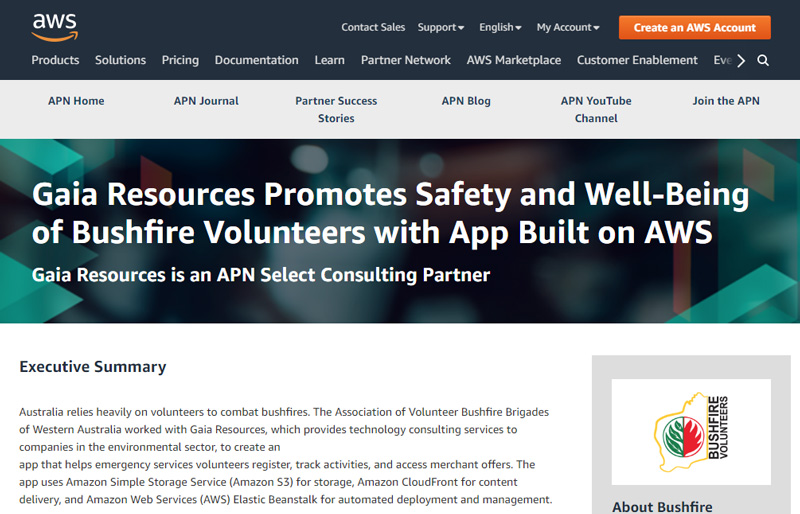 Gaia Resources Promotes Safety and Well-Being of Bushfire Volunteers with App Built on AWS
