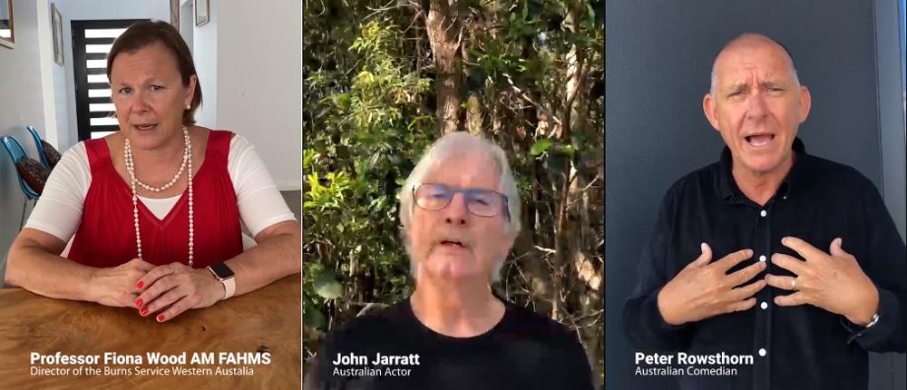 Actor John Jarratt, Comedian Peter Rowsthorn and Surgeon Fiona Woods launching #BVSGotYourBack Bushfire Volunteers campaign on #IVD2020