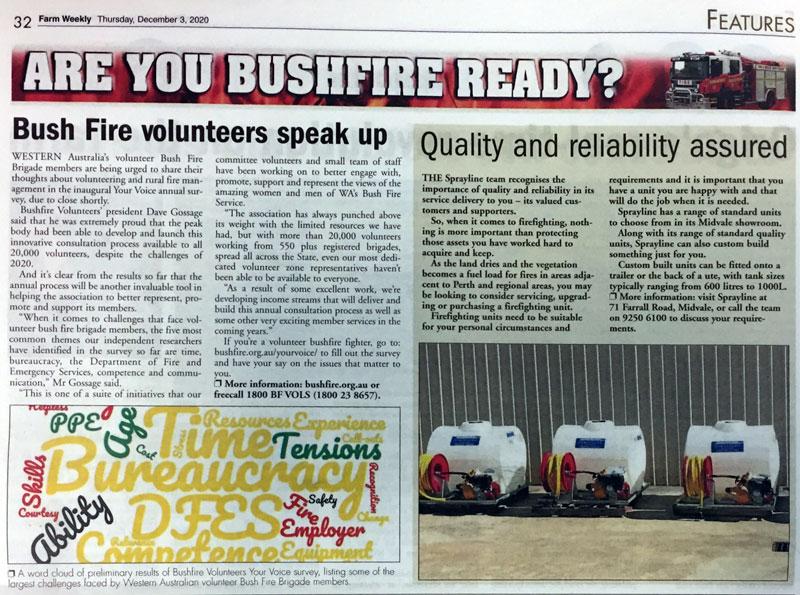 Farm Weekly: Bush Fire volunteers speak up