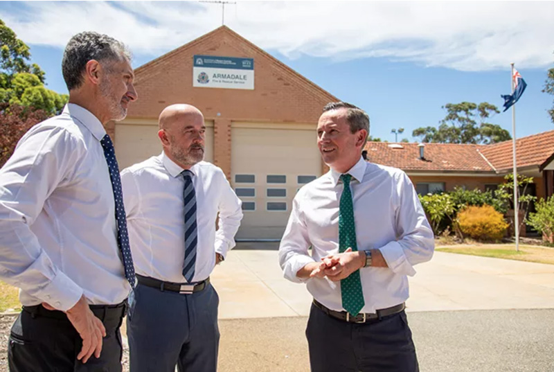 Premier Mark McGowan, Member for Armadale Tony Buti and WA Labor Candidate for Darling Range Hugh Jones standing in front of the Armadale Fire and Rescue Station
