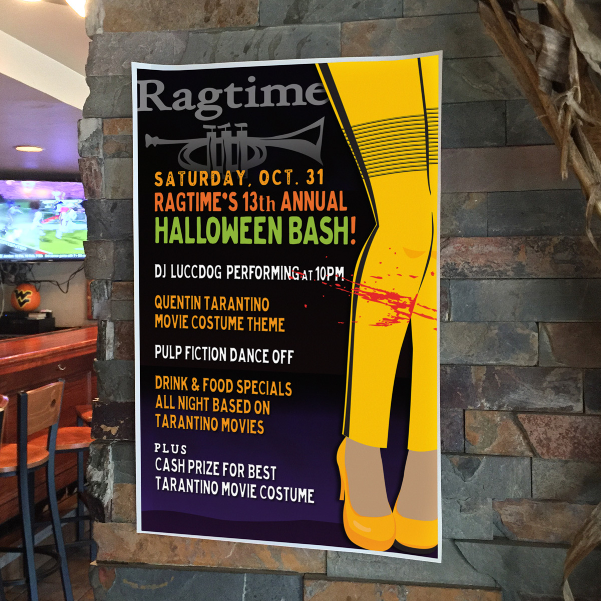 Quentin Tarantino Movie Themed Halloween Party Poster