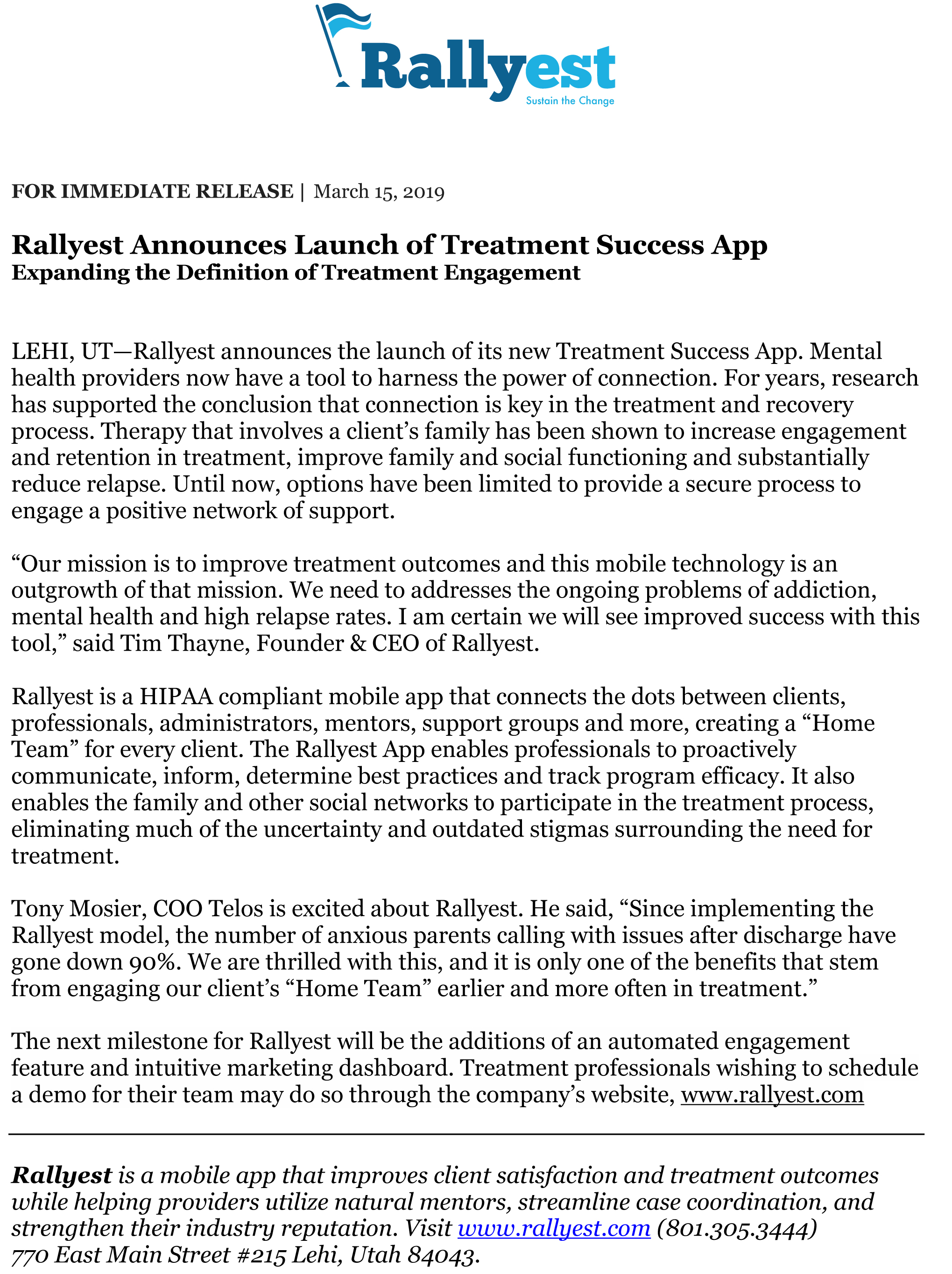Treatment Success App Launches, by Rallyest