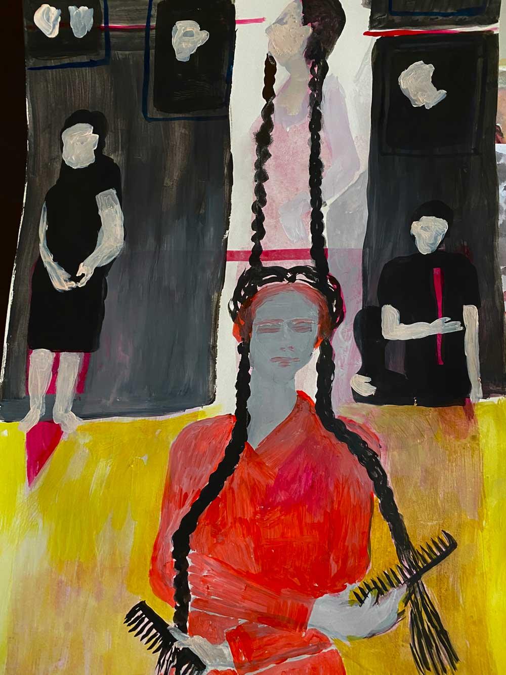 Nereida Garcia Ferraz, GIrls with Braids artwork