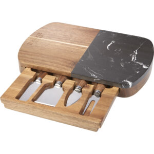 Black Marble Cheese Board Set with Knives Winter 2019 Promotional Gift Campaigns