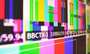 close-up photo of SPMTE color bars