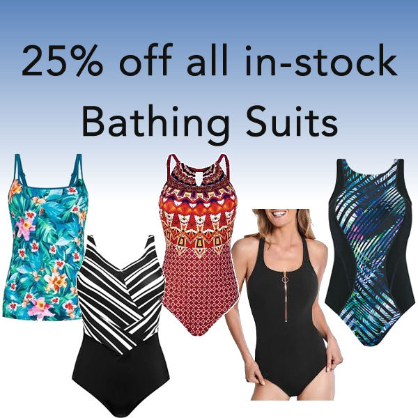 All in stock bathing suits 25% off