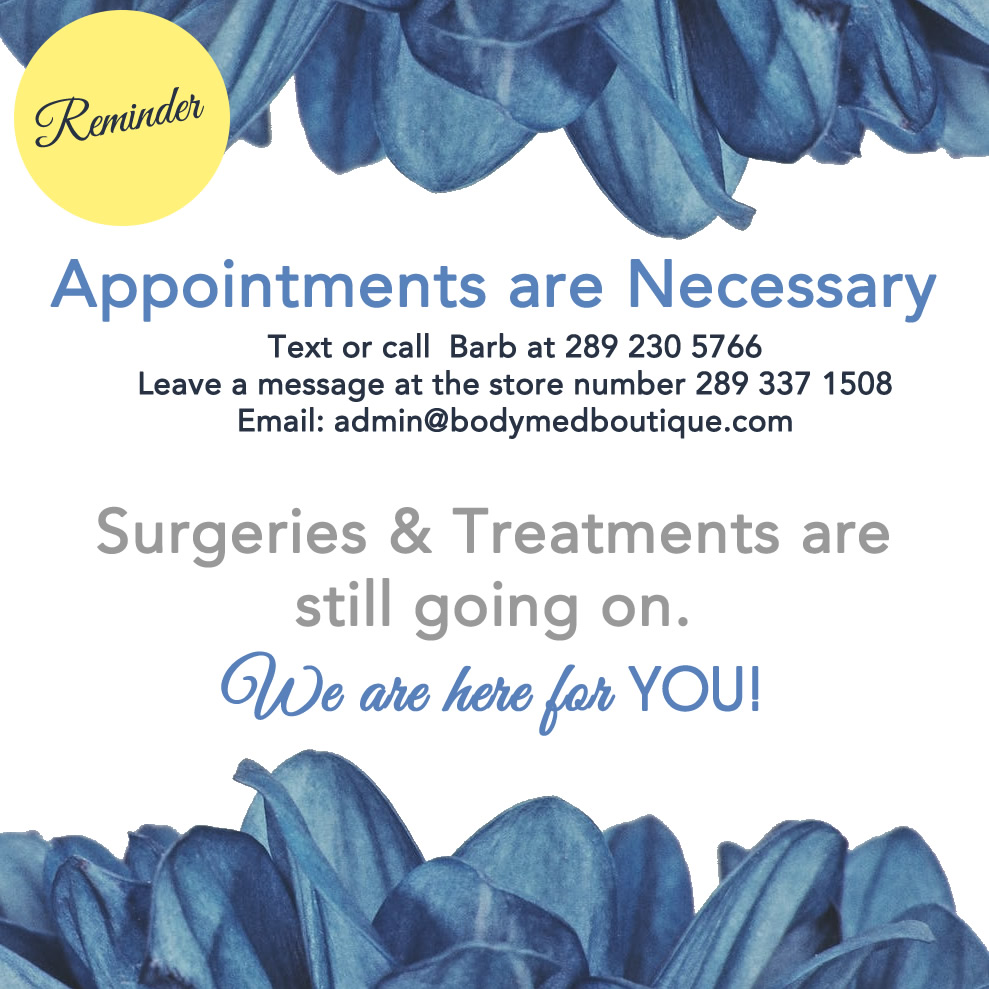 Surgeries and Treatments are still going on . Appointment are necessary