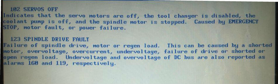 Alarm # 123 Spindle Drive Fault