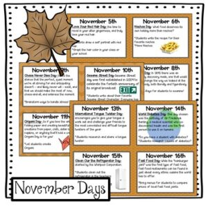 November Activities: Everyday is a Holiday