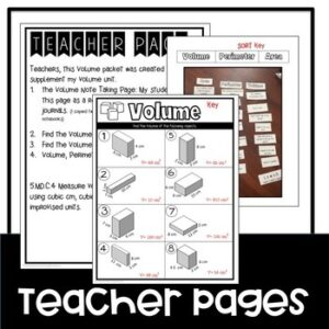 Volume Worksheets and Sort