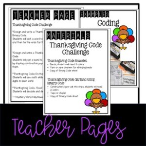 "Thanksgiving Coding ""Unplugged"""