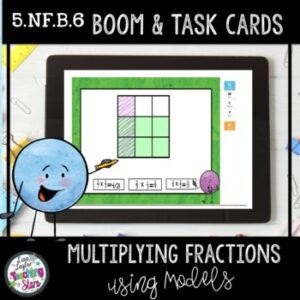 Boom Cards™ | Distance Learning | Multiplying Fractions using Models Task Cards