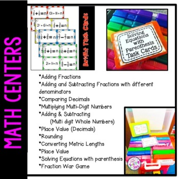 Math Center Scoot Cards