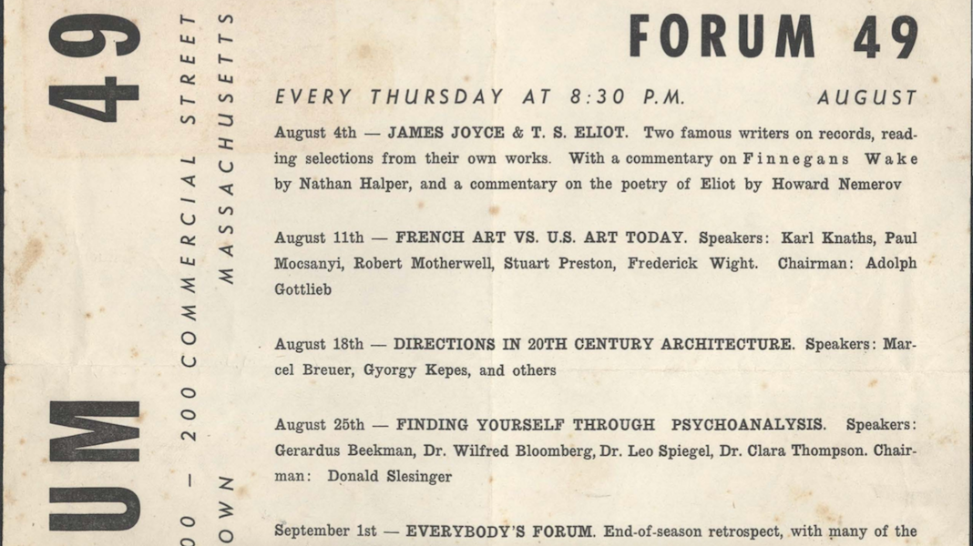 Provincetown History Snippet: Forum 49