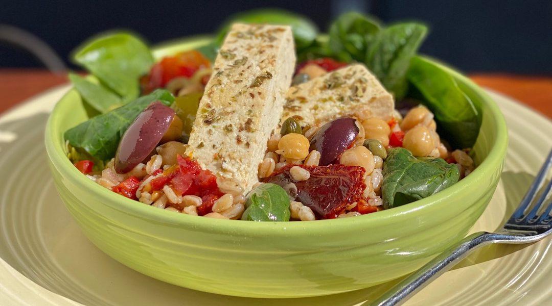 Mediterranean Farro and Tofu Grain Bowl