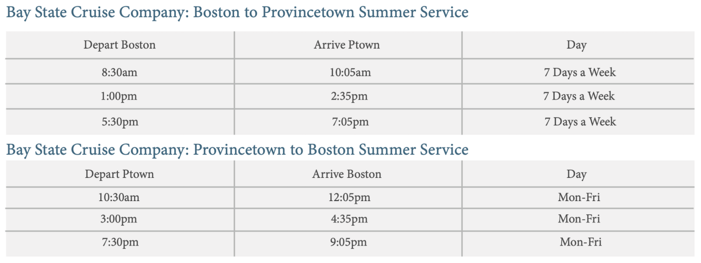 Provincetown Summer Ferry Schedule