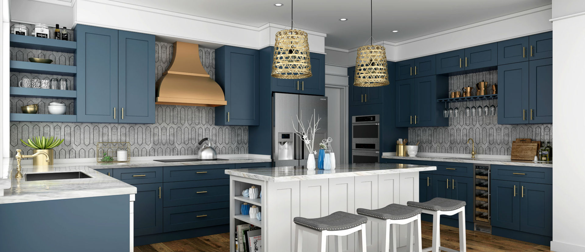 Imperial Blue Kitchen Cabinets Frameless Cabinets San Antonio
