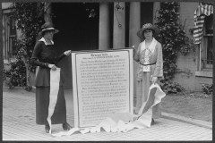 Mary Gertrude Fendall of Maryland (left) and Mary Dubrow of New Jersey (right) with their public proclamation banner