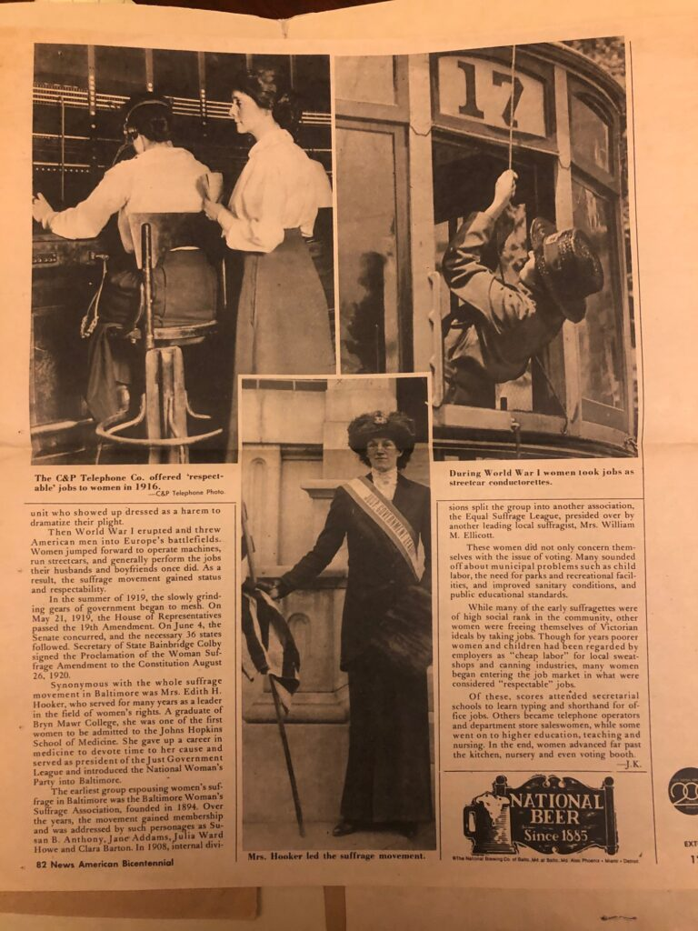 News clipping showing Mrs. Hooker, dressed in black with a sash that says