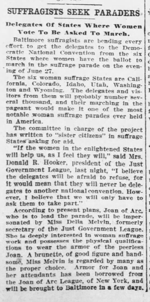 News clipping, unknown source, that says that suffragists are seeking people to march in a parade