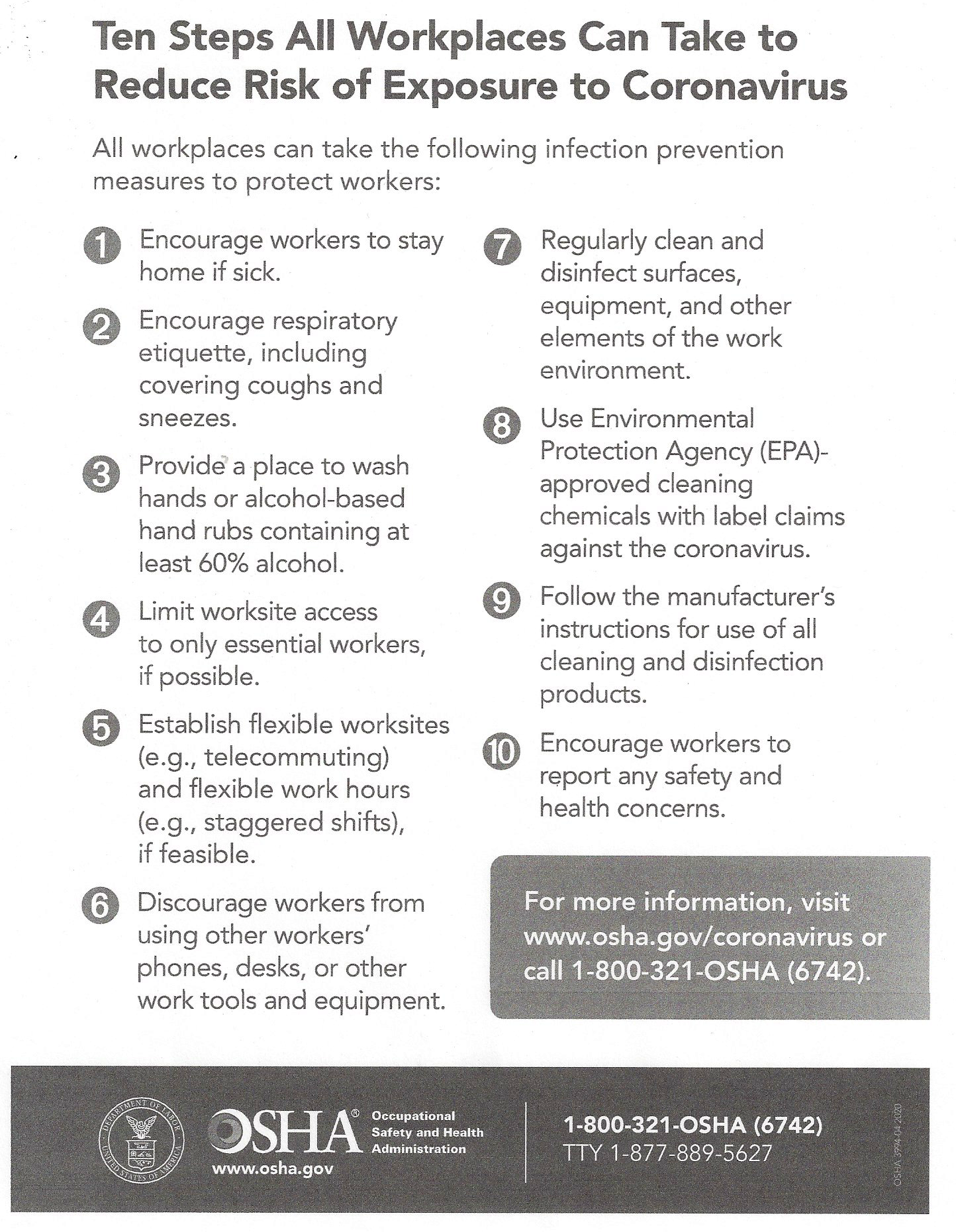 COVID-19 Prevention Tips from OSHA