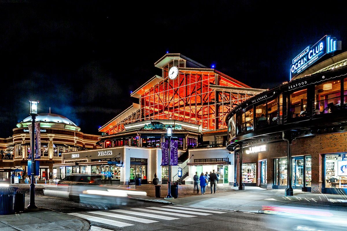 colorful lighting effects of Easton Station building at Easton Town Center