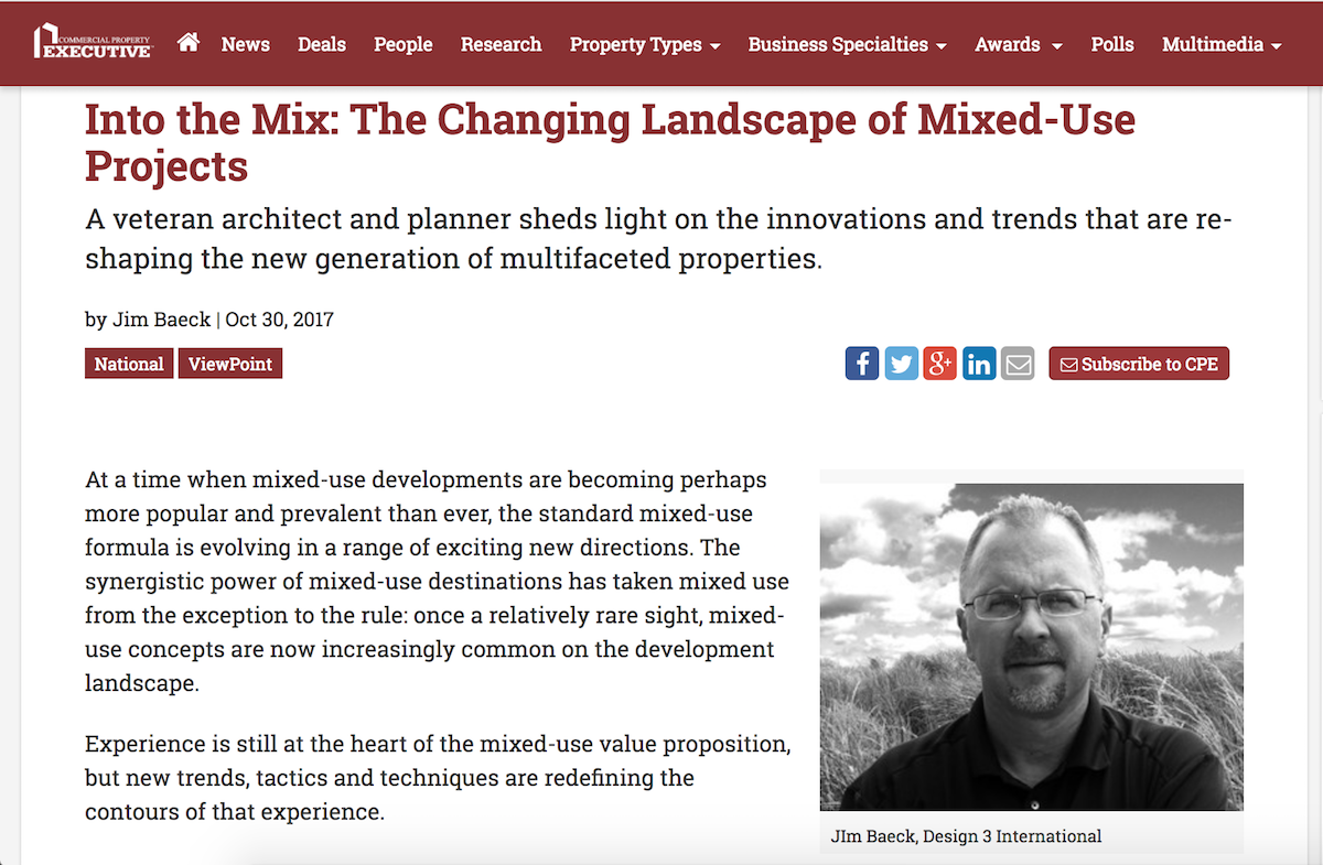 D3i in Commercial Property Executive, mixed-use article by Jim Baeck