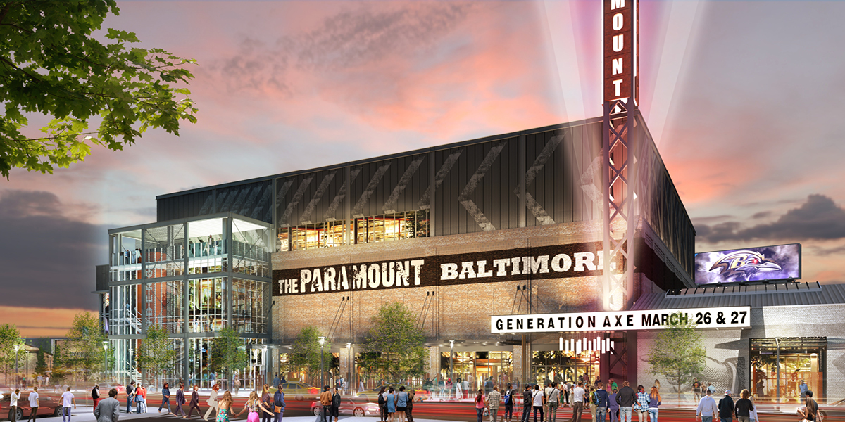 paramount concert venue exterior view along Warner Street