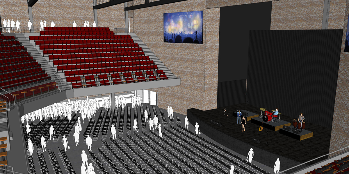paramount concert venue interior with stage