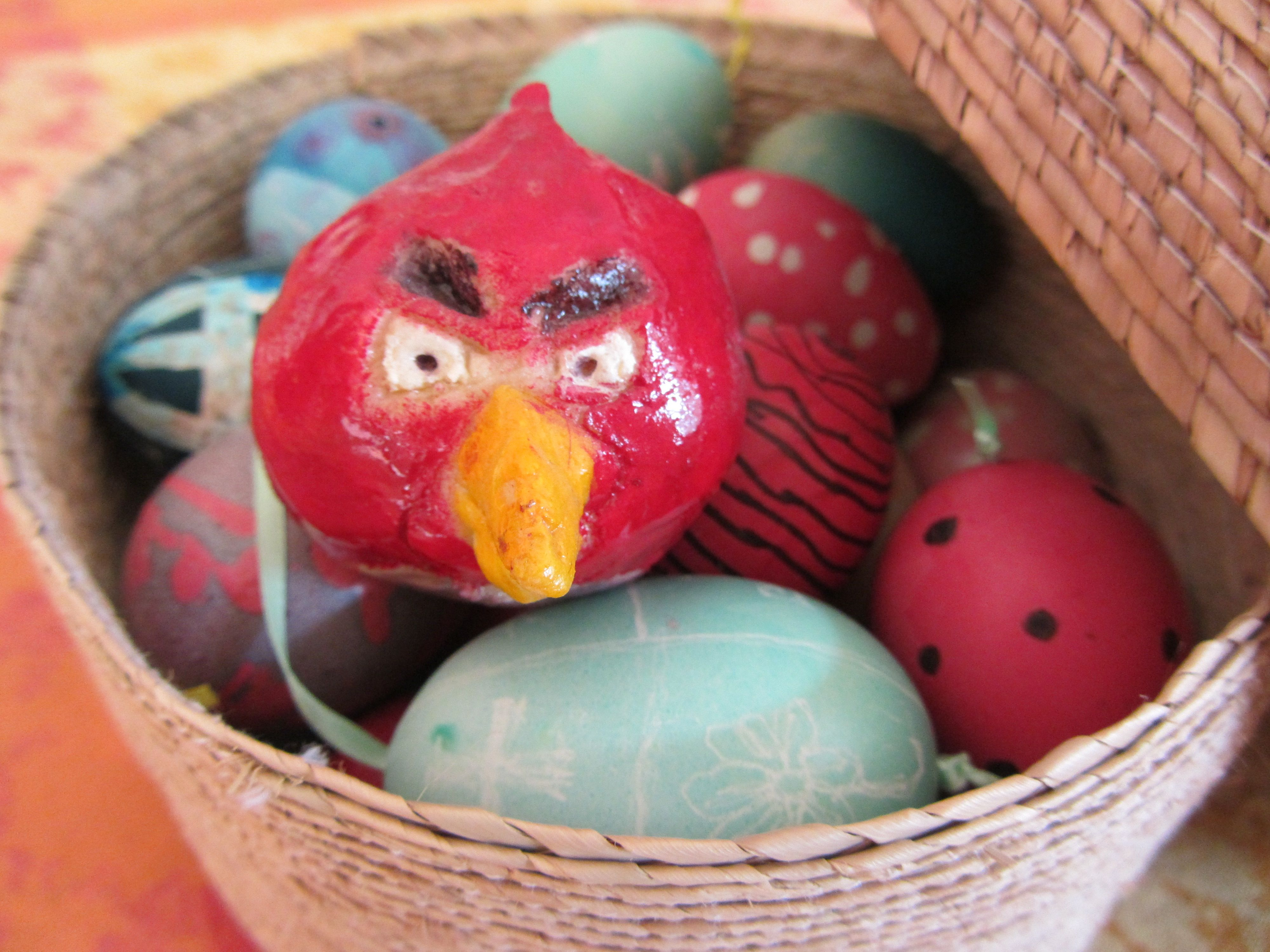 image of an angry bird model plus Easter eggs