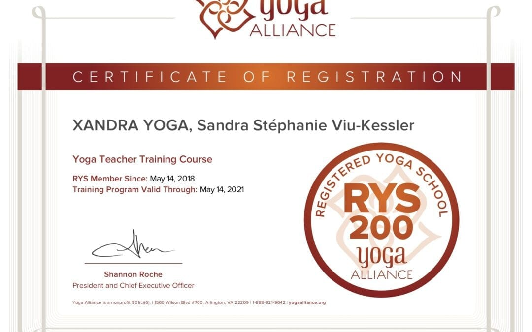Certifié par Yoga Alliance