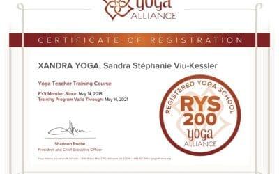 Certifié par Yoga Alliance