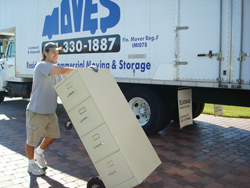Owner Pat Kloiber moving a commercial customer
