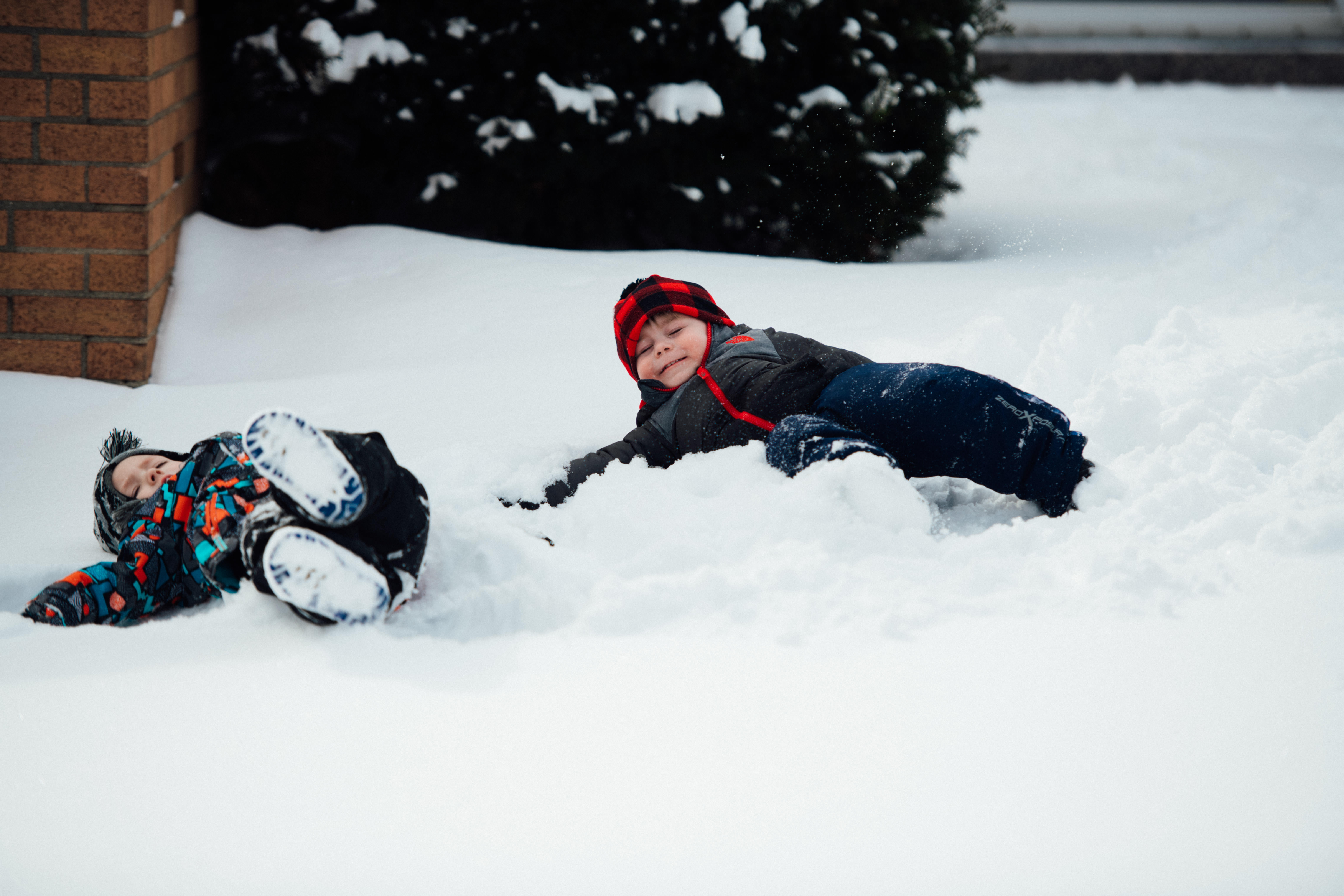 Rolling in the snow on a fun snow day
