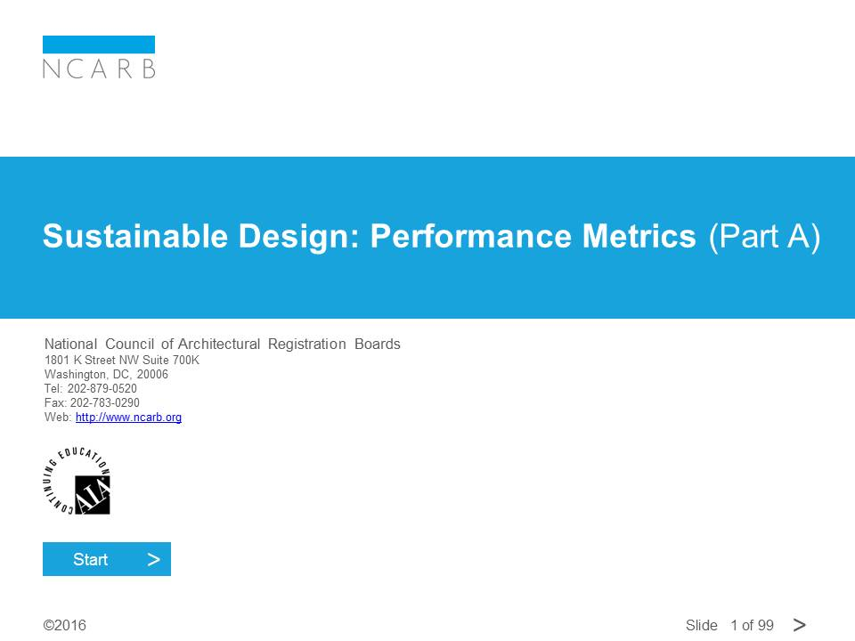 SUSTAINABLE DESIGN: PERFORMANCE METRICS (PART A)