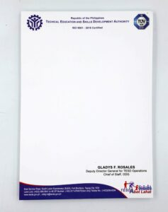 TESDA Notepad #vjgraphicsprinting #offsetprinting #growthroughprint #notepads — with Technical Education and Skills Development Authority - TESDA Philippines