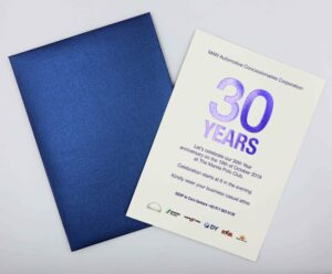 MAN Automotive 30 Years Invitation + Dry Embossing + Blue Hot Foil Stamping #vjgraphicsprinting #offsetprinting #invitations #growthroughprint #dryembossing #bluehotfoilstamping