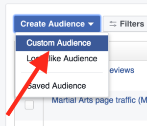 Gym Marketing: Facebook Custom Audience Menu