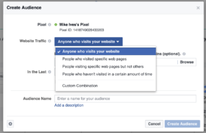 Gym Marketing: Facebook Create Audience Modal with Dropdown