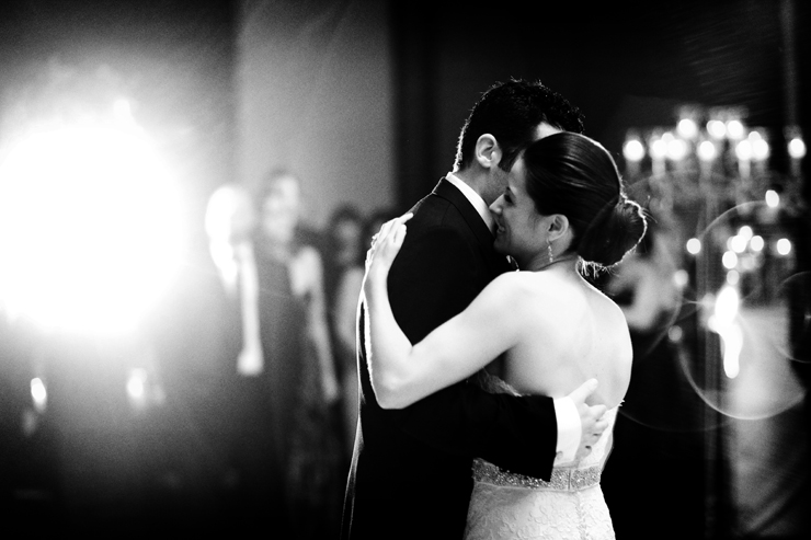 Couple shares their first dance.