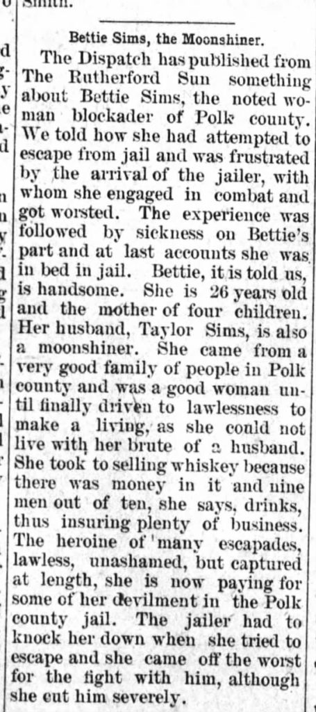 Newspaper clipping Bettie Sims Bootlegger October 4, 1906